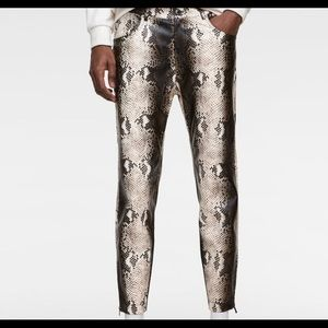 Zara snakeskin faux leather pants